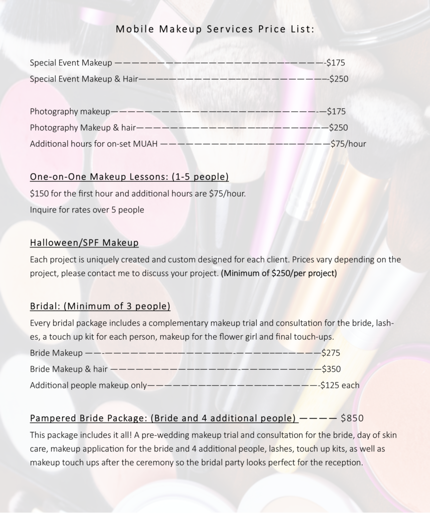 makeup artist price list